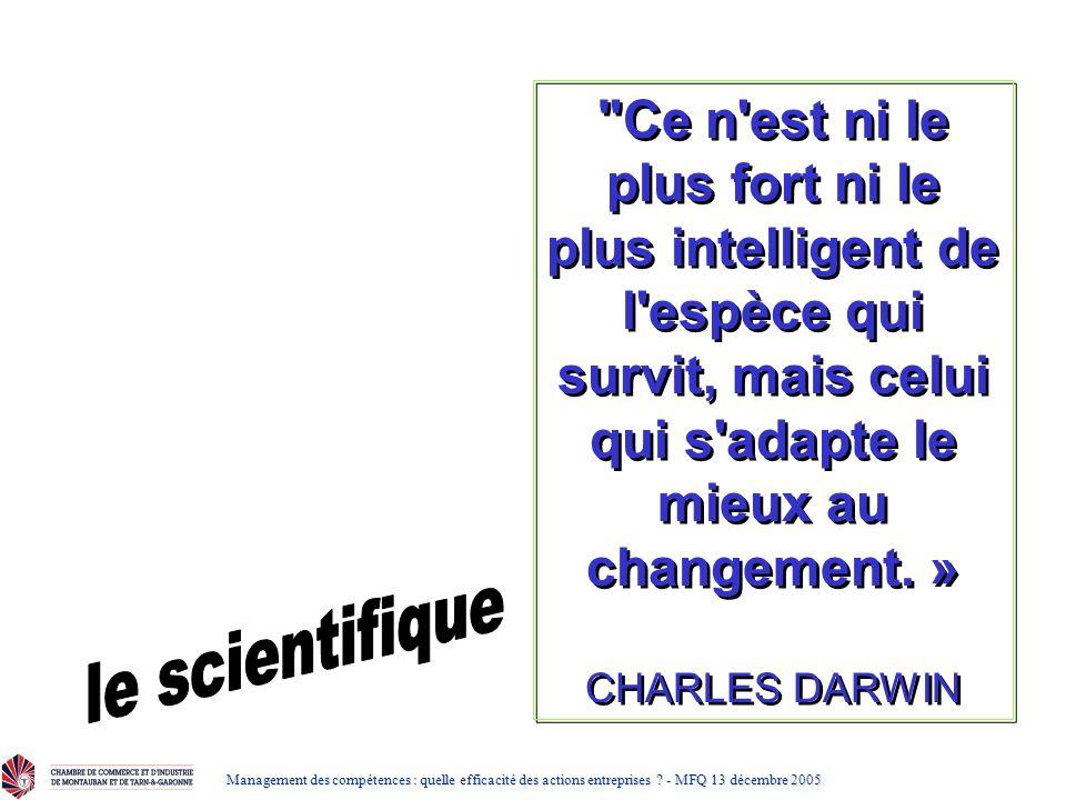 Ce n est ni le plus fort ni le plus intelligent de l espèce qui survit, mais celui qui s adapte le mieux au changement. »