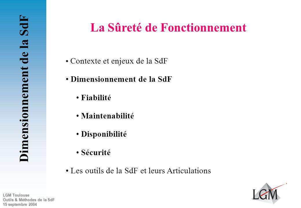 La Sûreté de Fonctionnement Dimensionnement de la SdF
