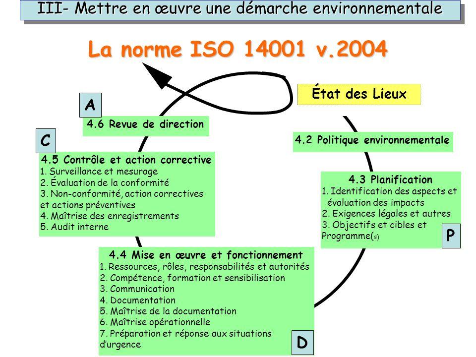 III- Mettre en œuvre une démarche environnementale