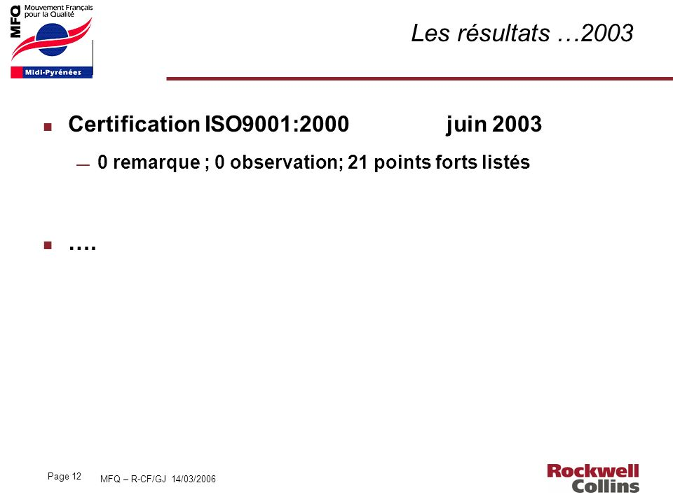 Les résultats …2003 Certification ISO9001:2000 juin 2003 ….