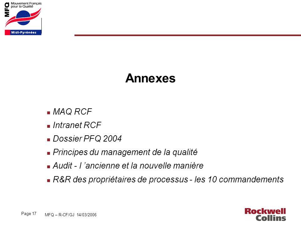Annexes MAQ RCF Intranet RCF Dossier PFQ 2004