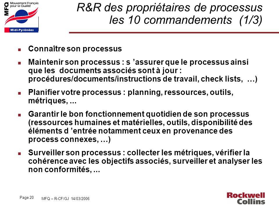 R&R des propriétaires de processus les 10 commandements (1/3)