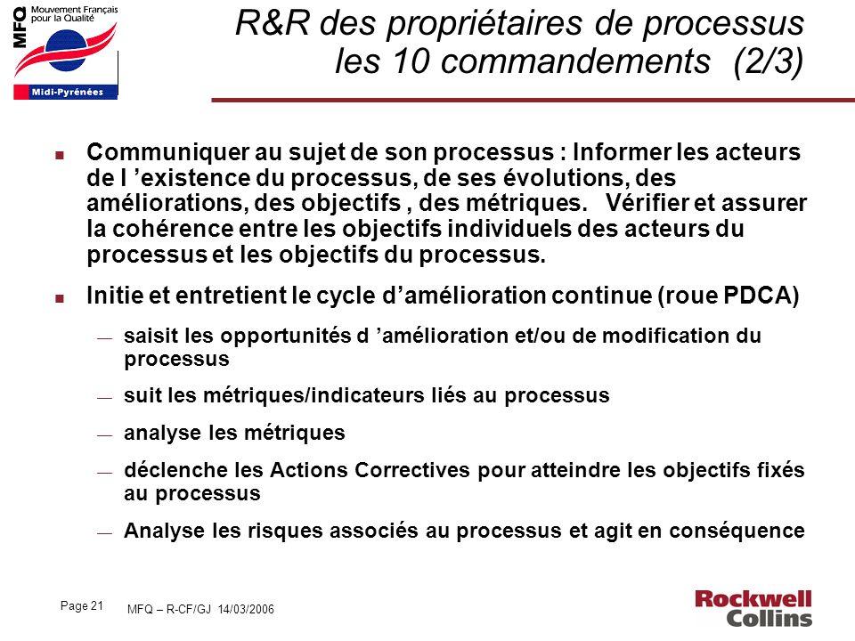 R&R des propriétaires de processus les 10 commandements (2/3)