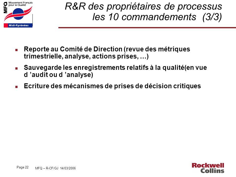 R&R des propriétaires de processus les 10 commandements (3/3)