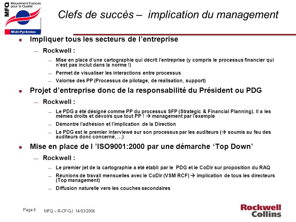Clefs de succès – implication du management
