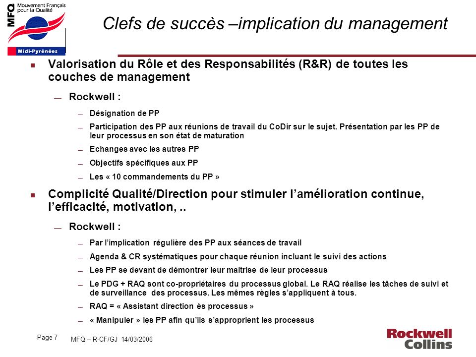 Clefs de succès –implication du management