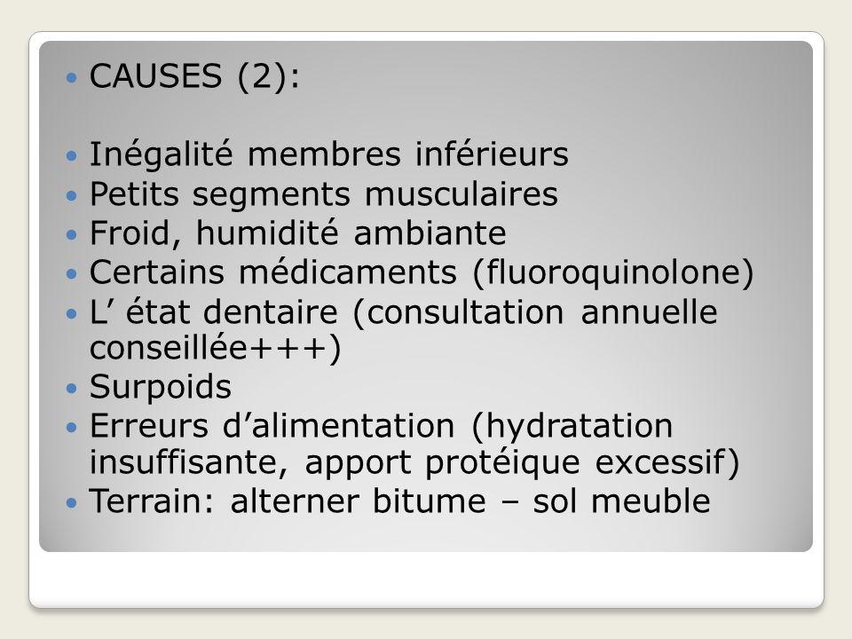 CAUSES (2):Inégalité membres inférieurs. Petits segments musculaires. Froid, humidité ambiante. Certains médicaments (fluoroquinolone)