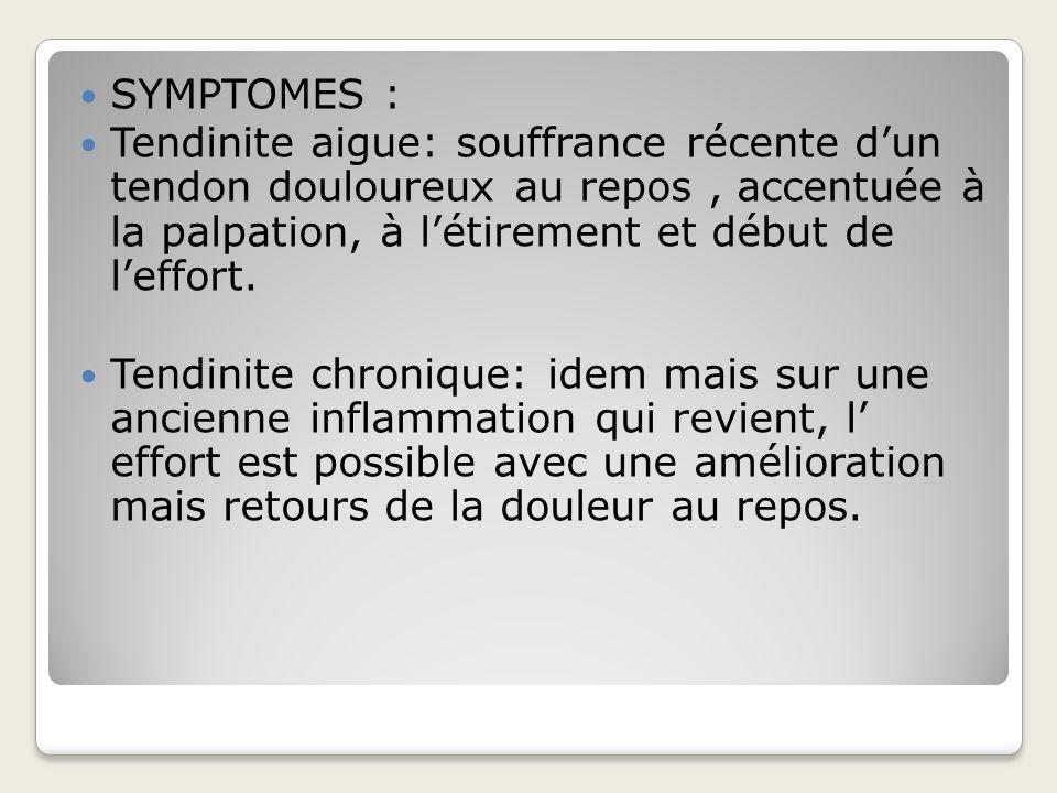 SYMPTOMES : Tendinite aigue: souffrance récente d'un tendon douloureux au repos , accentuée à la palpation, à l'étirement et début de l'effort.