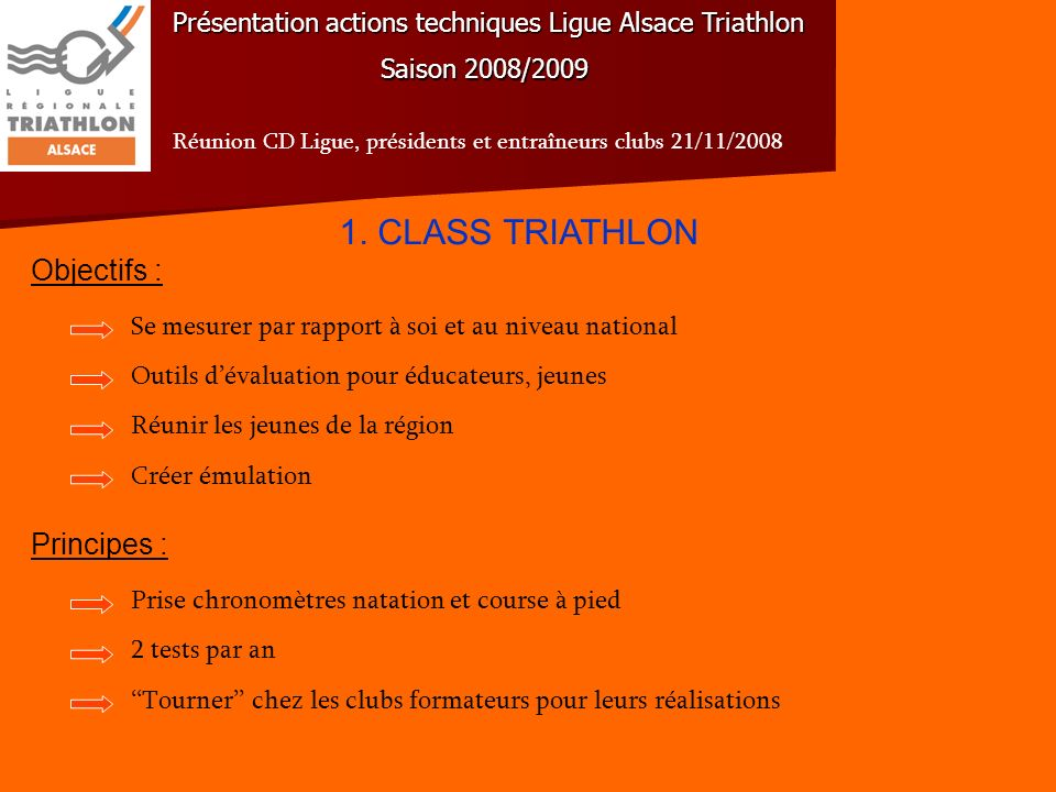 1. CLASS TRIATHLON Objectifs : Principes :