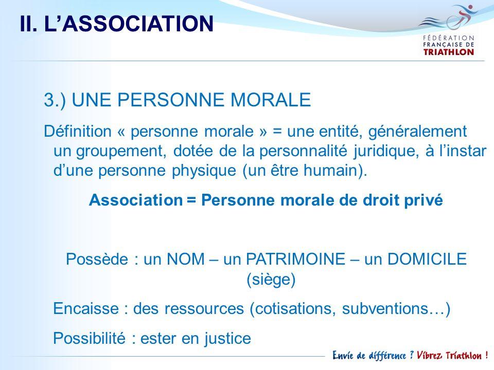II. L'ASSOCIATION 3.) UNE PERSONNE MORALE