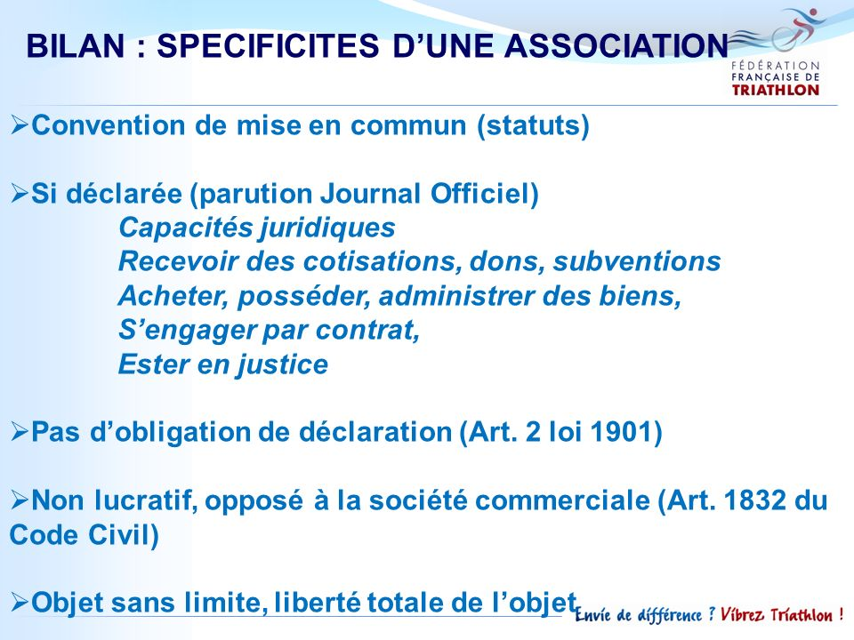 BILAN : SPECIFICITES D'UNE ASSOCIATION