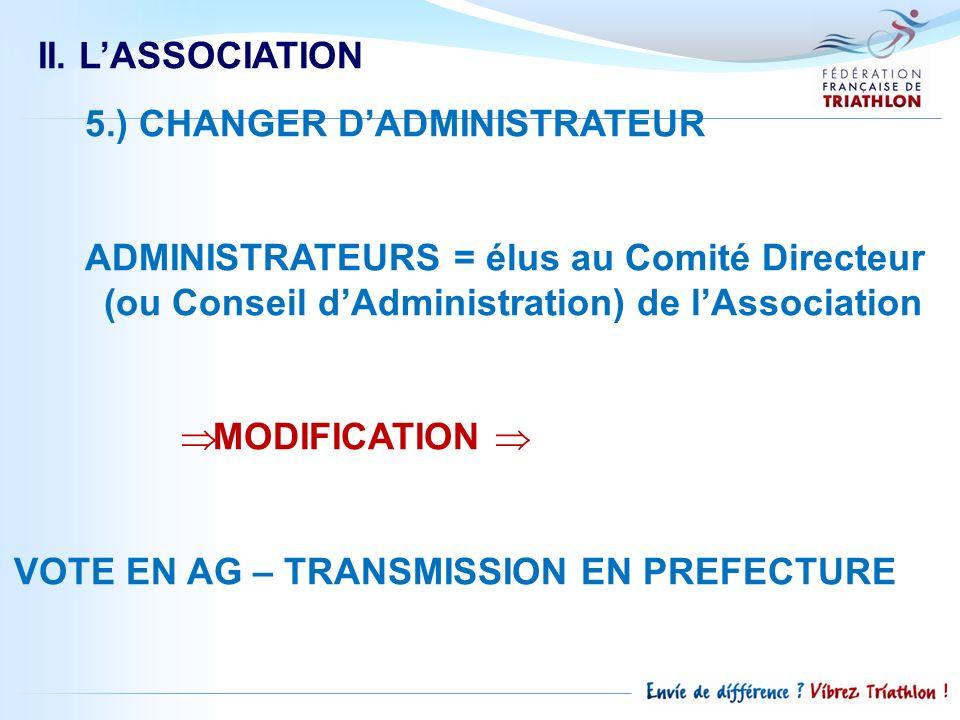 II. L'ASSOCIATION 5.) CHANGER D'ADMINISTRATEUR. ADMINISTRATEURS = élus au Comité Directeur (ou Conseil d'Administration) de l'Association.