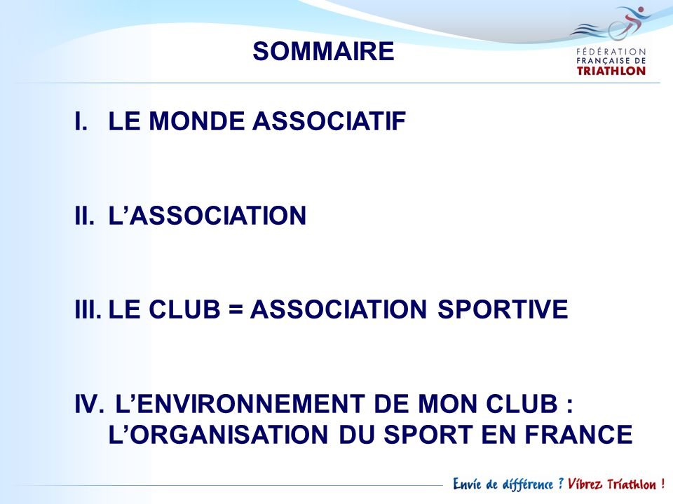 SOMMAIRE LE MONDE ASSOCIATIF. L'ASSOCIATION. LE CLUB = ASSOCIATION SPORTIVE.