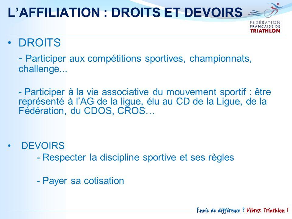 L'AFFILIATION : DROITS ET DEVOIRS