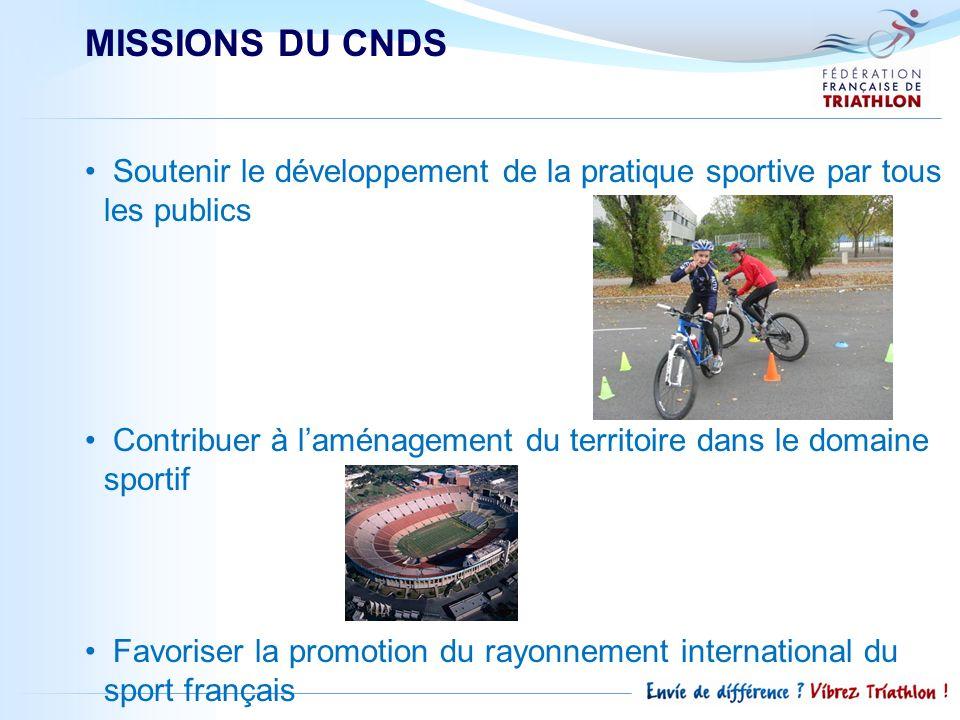 MISSIONS DU CNDS Soutenir le développement de la pratique sportive par tous les publics.