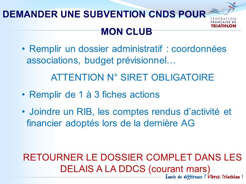 DEMANDER UNE SUBVENTION CNDS POUR MON CLUB