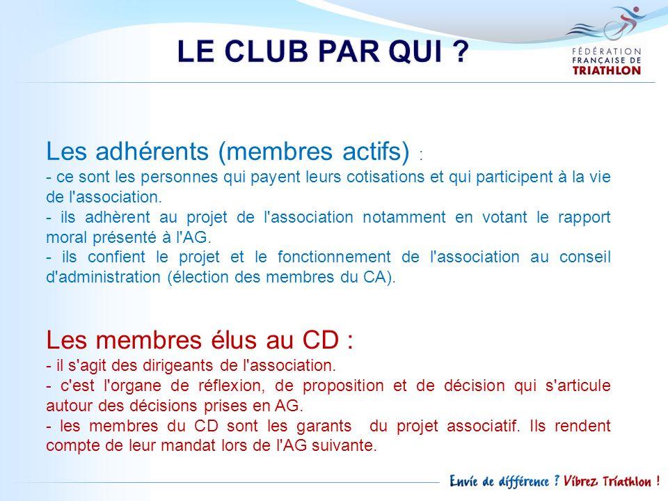 LE CLUB PAR QUI Les adhérents (membres actifs) :