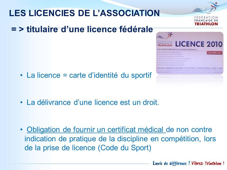 LES LICENCIES DE L'ASSOCIATION = > titulaire d'une licence fédérale