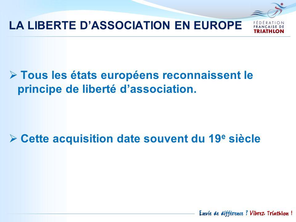 LA LIBERTE D'ASSOCIATION EN EUROPE