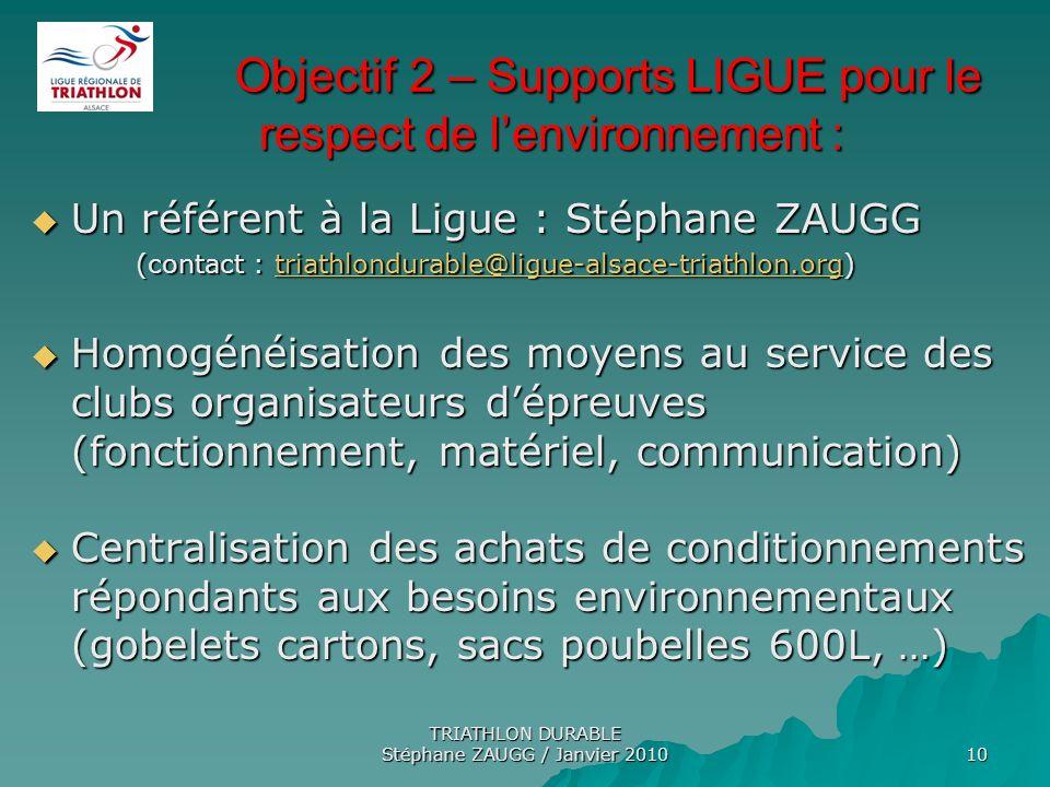 Objectif 2 – Supports LIGUE pour le respect de l'environnement :