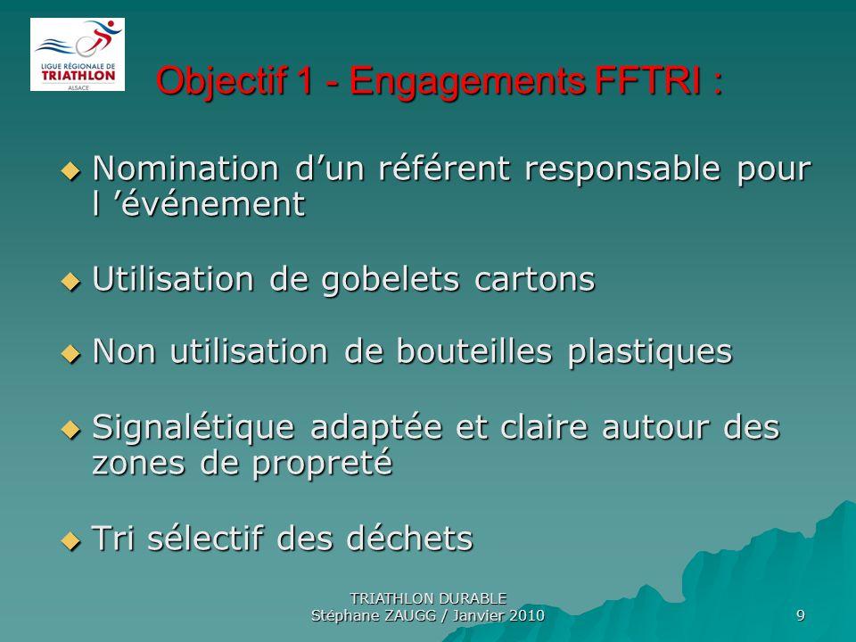 Objectif 1 - Engagements FFTRI :