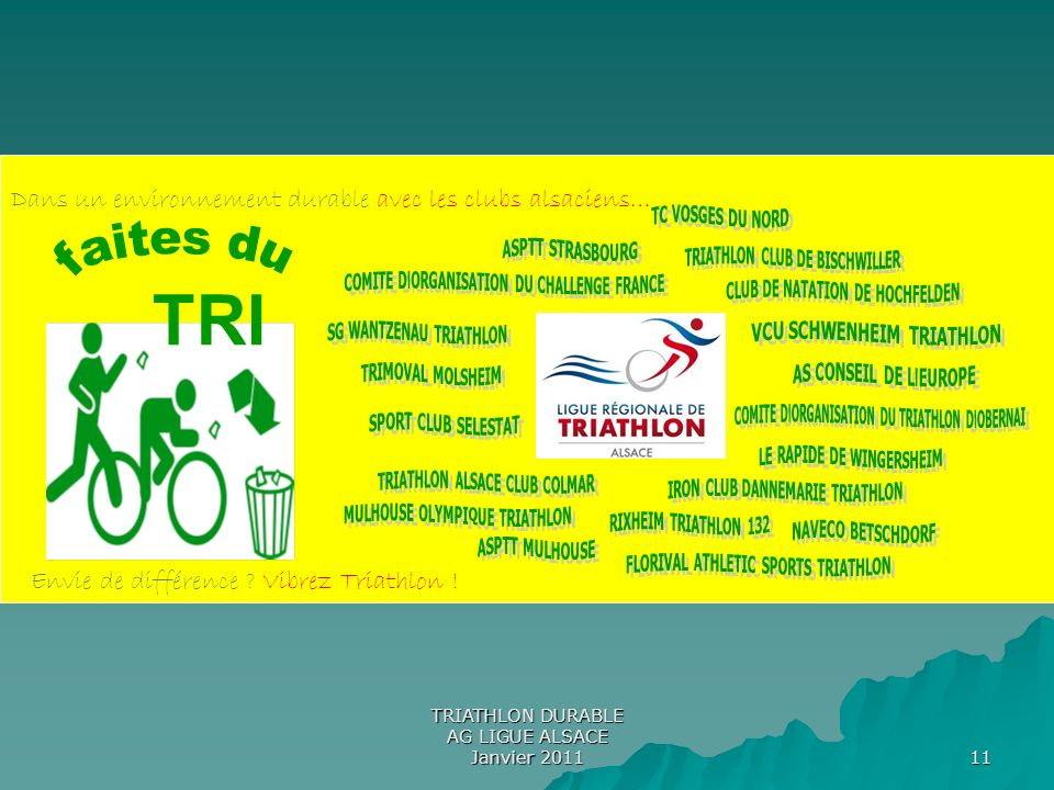 TRI faites du Dans un environnement durable avec les clubs alsaciens…
