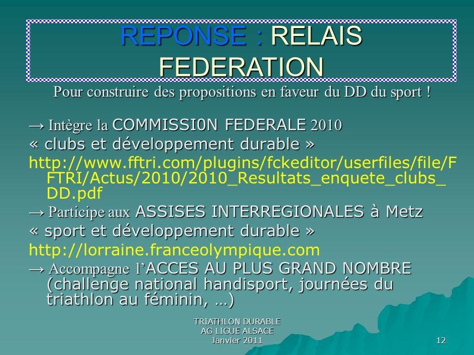 REPONSE : RELAIS FEDERATION