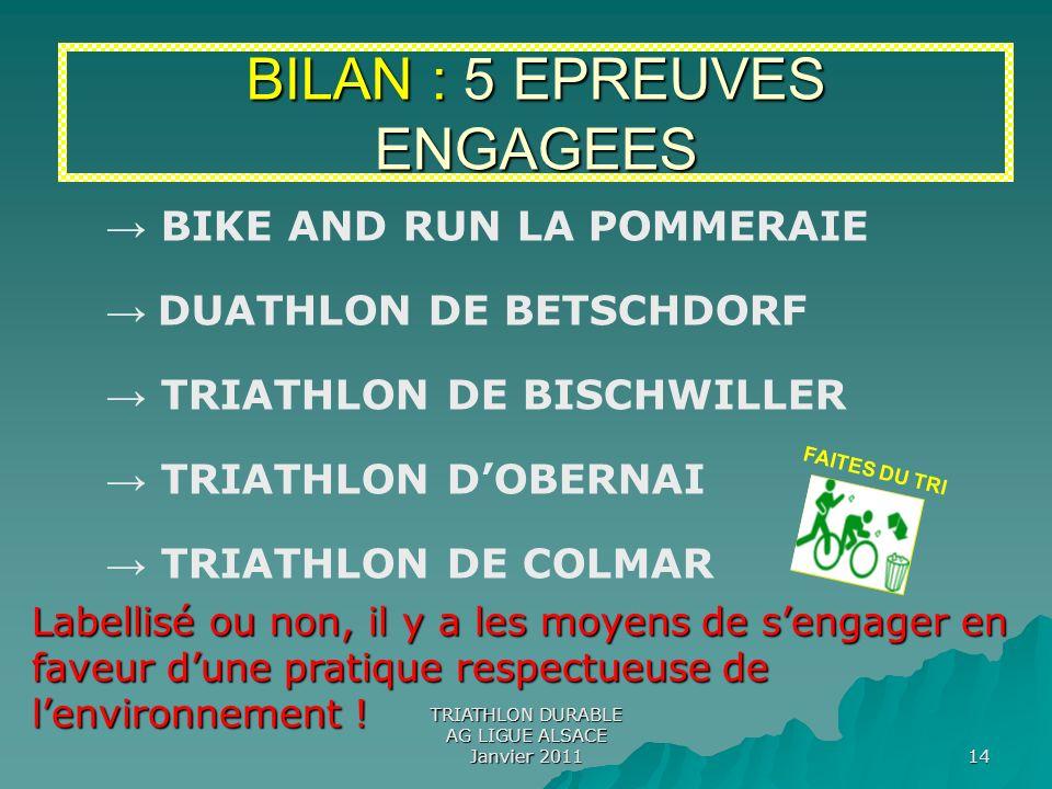 BILAN : 5 EPREUVES ENGAGEES