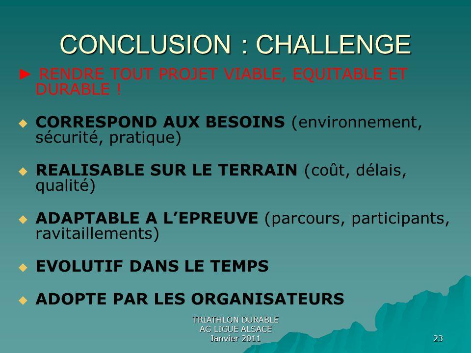 CONCLUSION : CHALLENGE