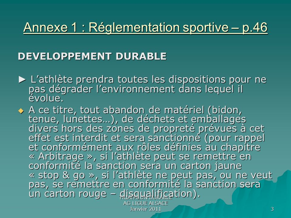 Annexe 1 : Réglementation sportive – p.46