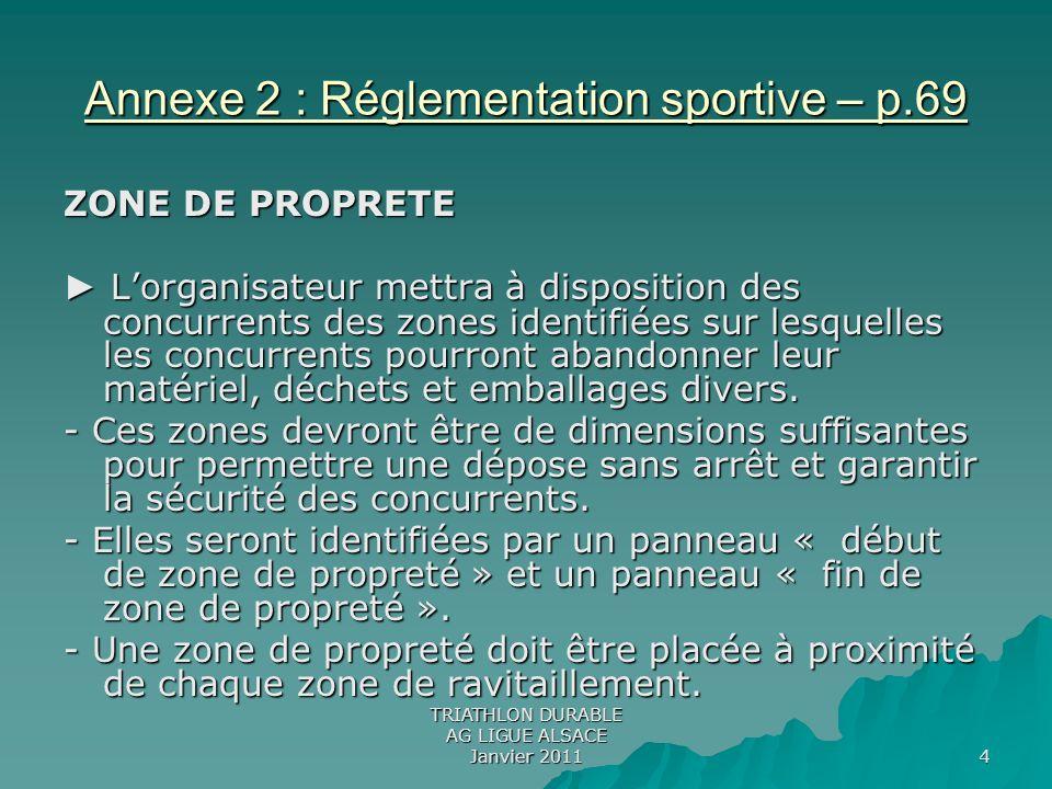 Annexe 2 : Réglementation sportive – p.69