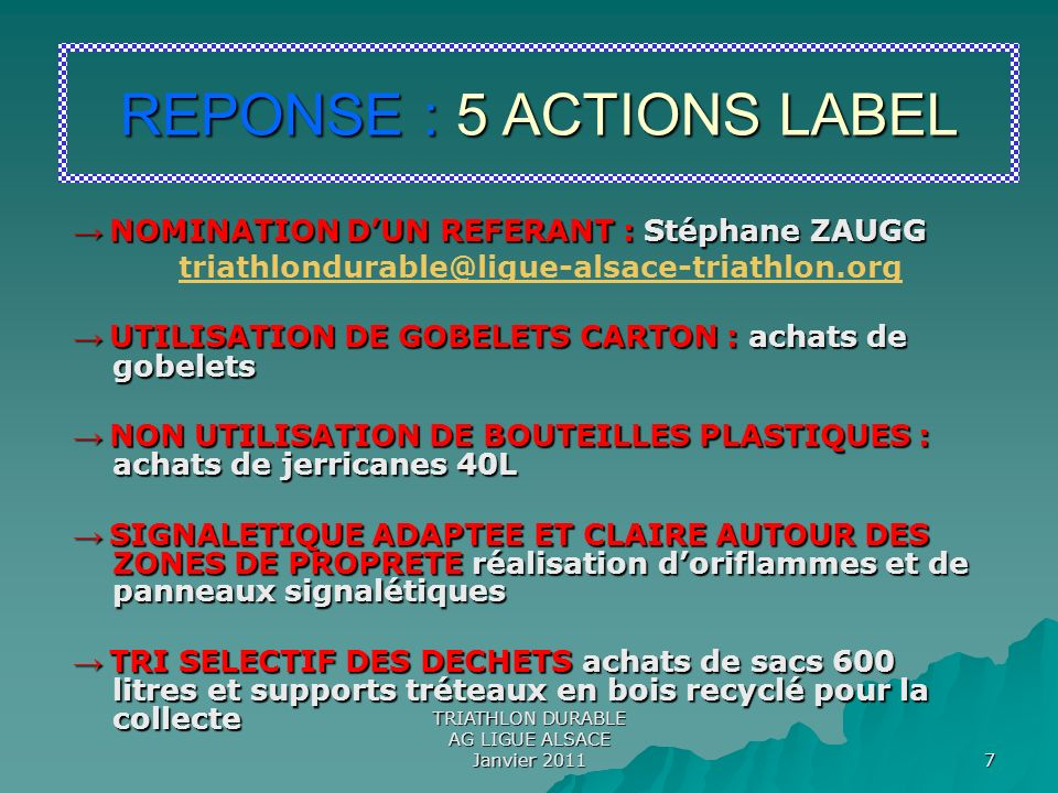 REPONSE : 5 ACTIONS LABEL