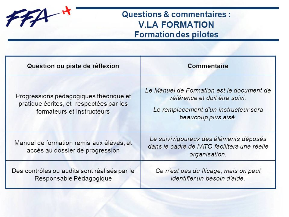 Questions & commentaires : V.LA FORMATION Formation des pilotes