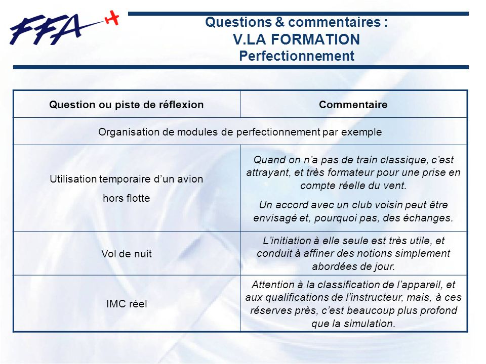 Questions & commentaires : V.LA FORMATION Perfectionnement