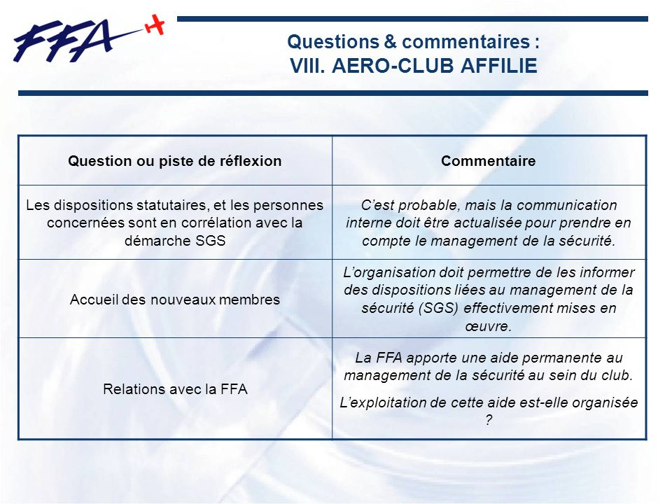 Questions & commentaires : VIII. AERO-CLUB AFFILIE