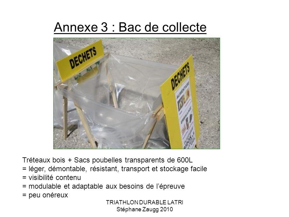 Annexe 3 : Bac de collecte