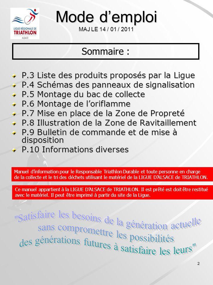 Mode d'emploi MAJ LE 14 / 01 / 2011 Sommaire : P.3 Liste des produits proposés par la Ligue. P.4 Schémas des panneaux de signalisation.