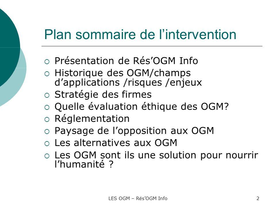 Plan sommaire de l'intervention
