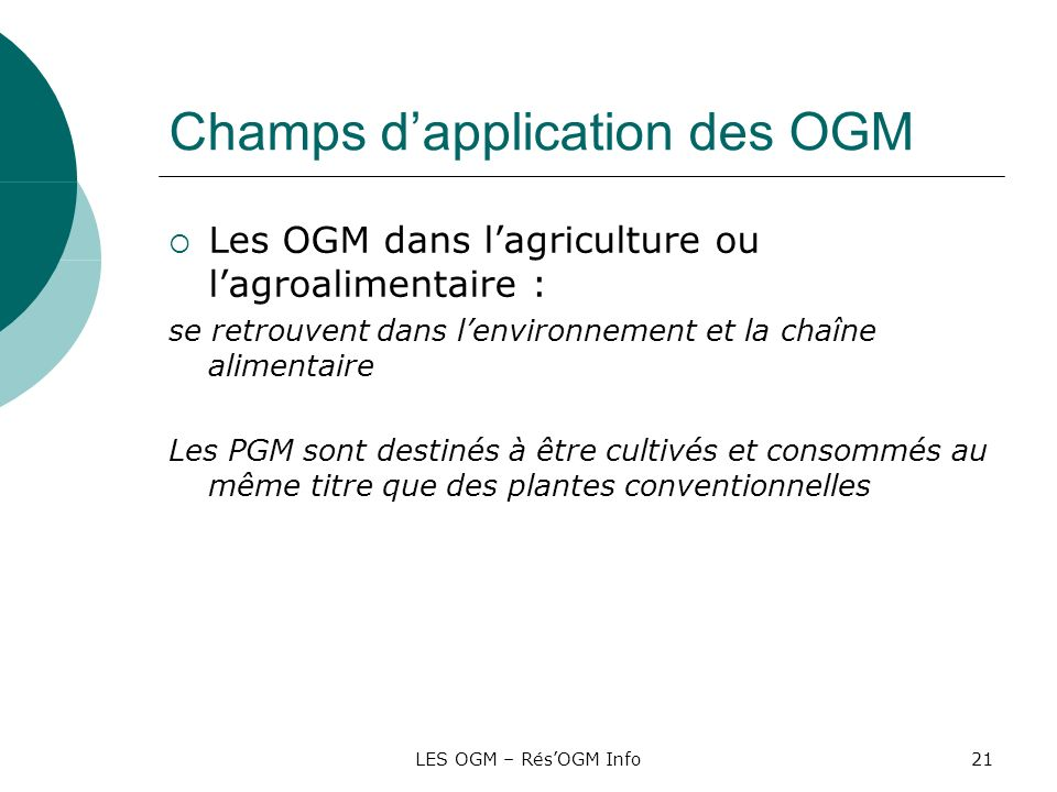 Champs d'application des OGM