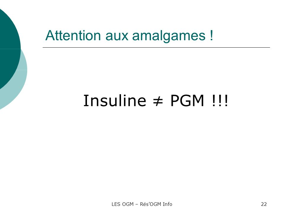 Attention aux amalgames !
