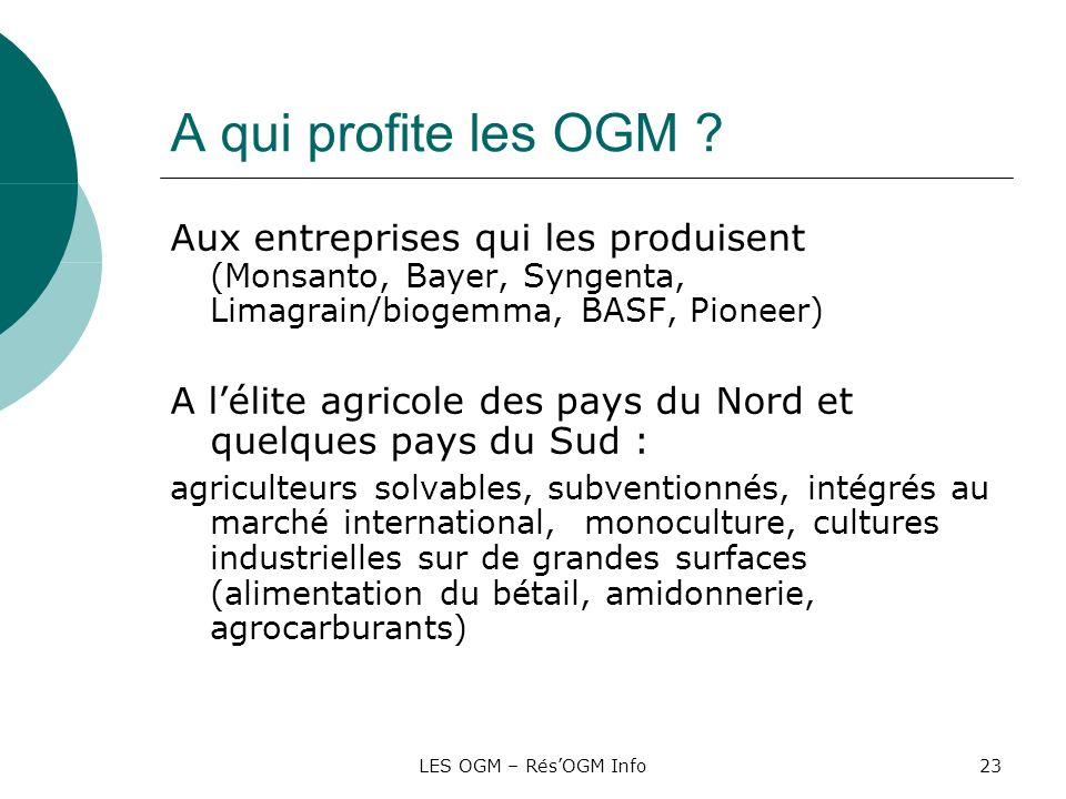 A qui profite les OGM Aux entreprises qui les produisent (Monsanto, Bayer, Syngenta, Limagrain/biogemma, BASF, Pioneer)