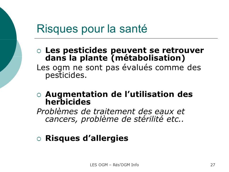 Risques pour la santéLes pesticides peuvent se retrouver dans la plante (métabolisation) Les ogm ne sont pas évalués comme des pesticides.