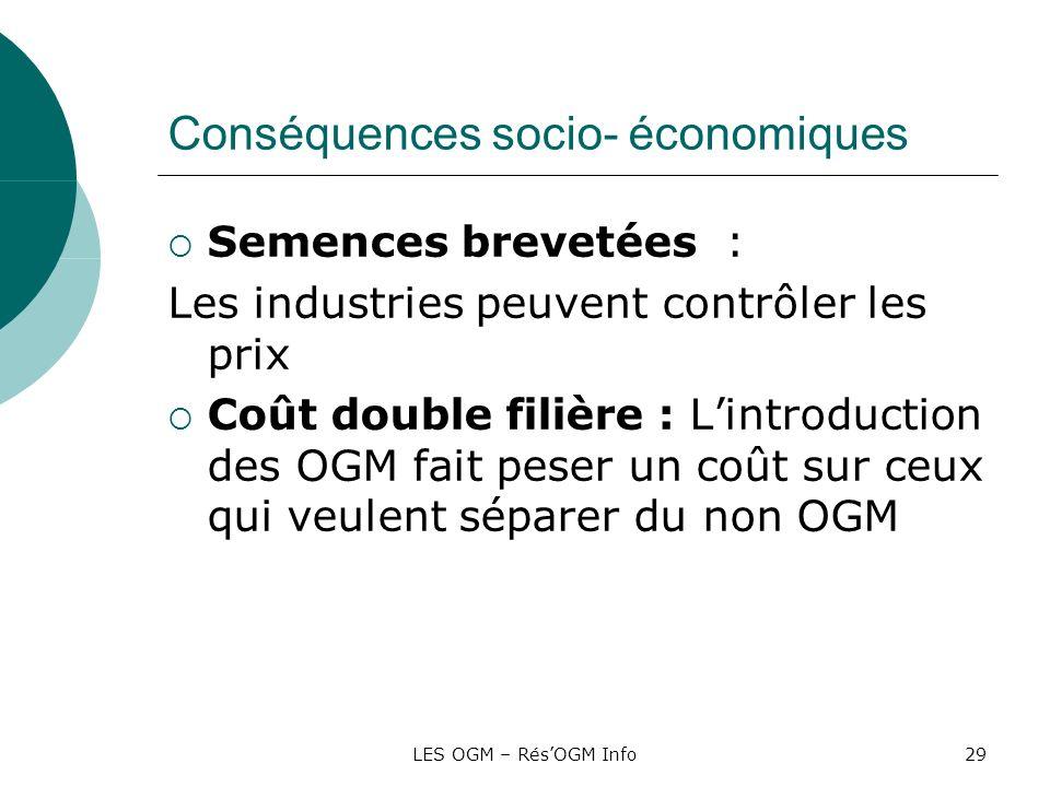 Conséquences socio- économiques