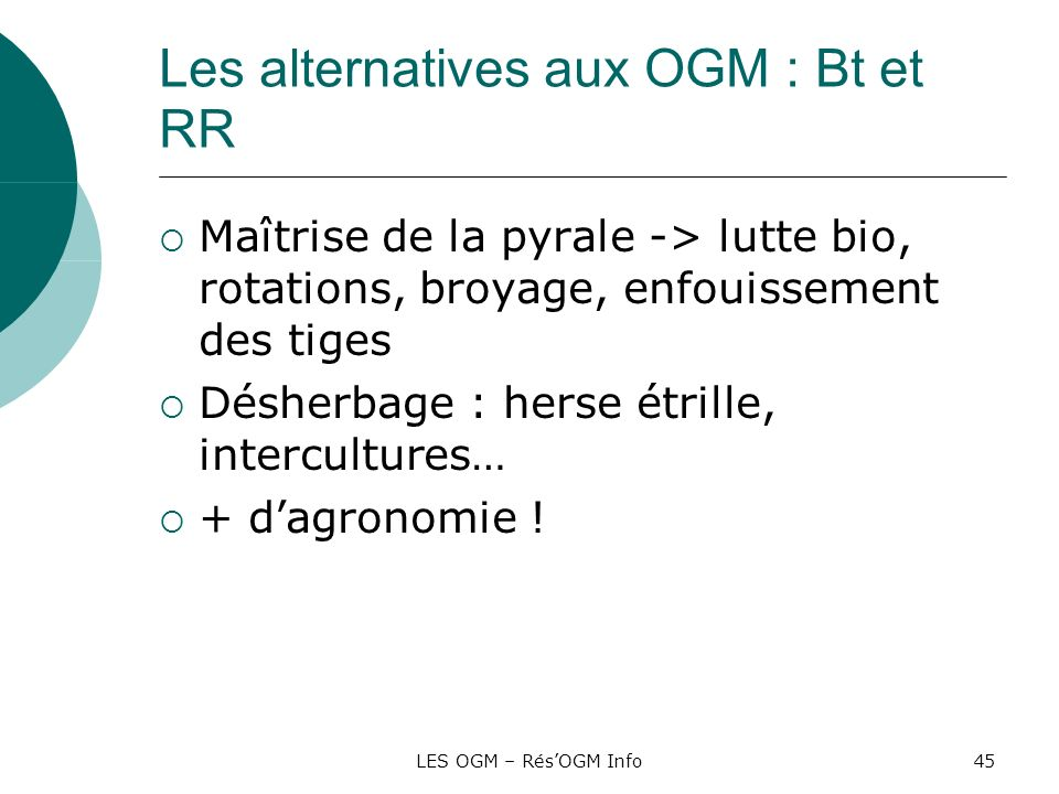 Les alternatives aux OGM : Bt et RR