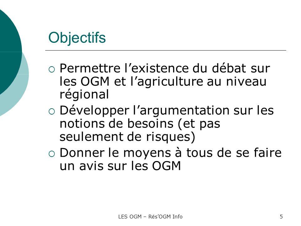 Objectifs Permettre l'existence du débat sur les OGM et l'agriculture au niveau régional.