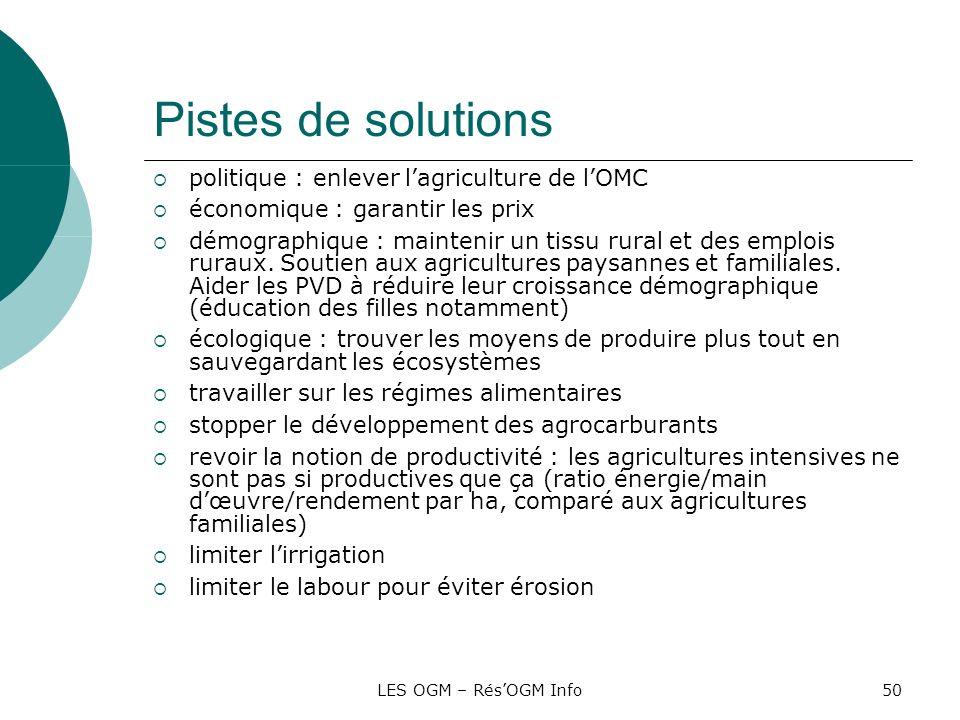 Pistes de solutions politique : enlever l'agriculture de l'OMC