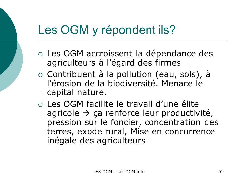Les OGM y répondent ils Les OGM accroissent la dépendance des agriculteurs à l'égard des firmes.