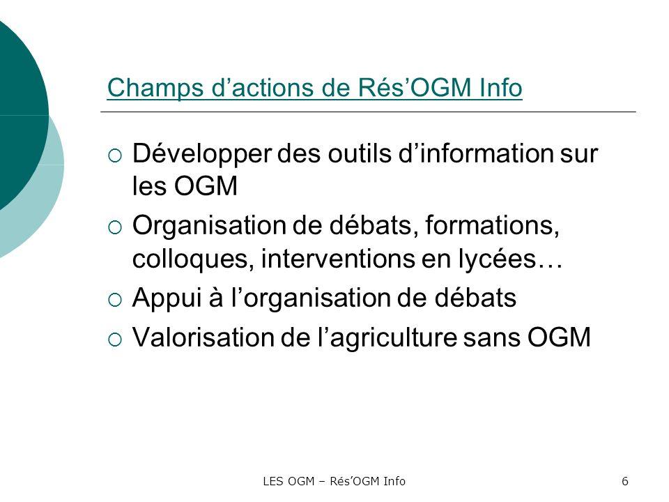 Champs d'actions de Rés'OGM Info