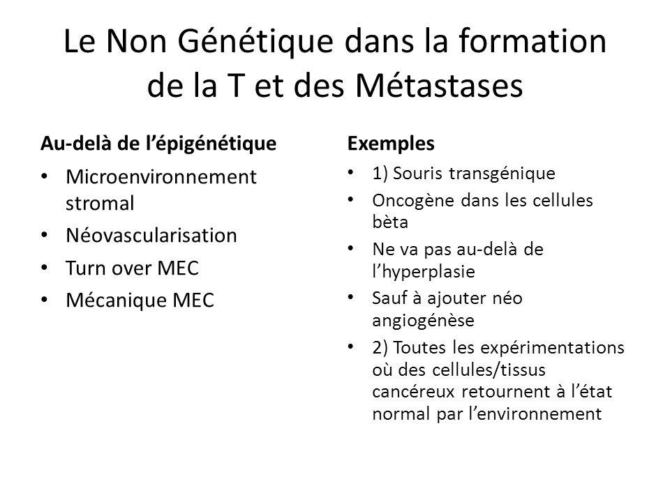 Le Non Génétique dans la formation de la T et des Métastases