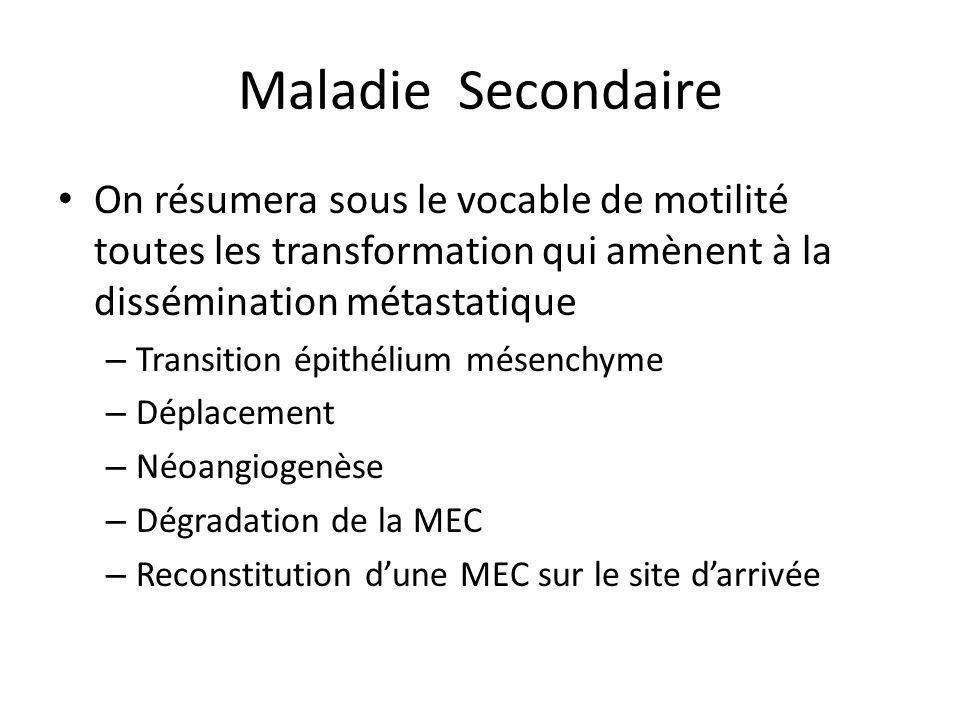 Maladie Secondaire On résumera sous le vocable de motilité toutes les transformation qui amènent à la dissémination métastatique.